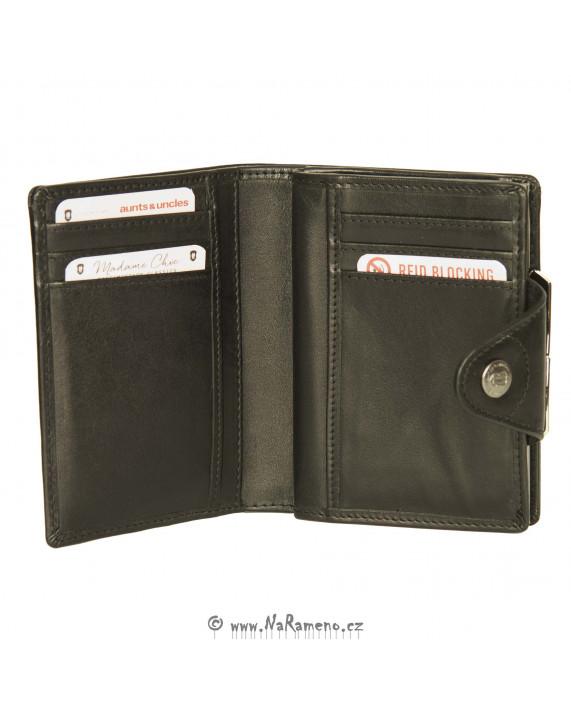 Dámská zacvakávací peněženka Aunts and Uncles s klipem na mince Solange černá