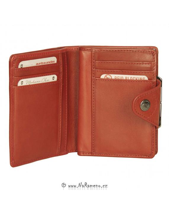 Červená peněženka Aunts and Uncles s kovovým rámečkem na drobné Solange střední velikosti