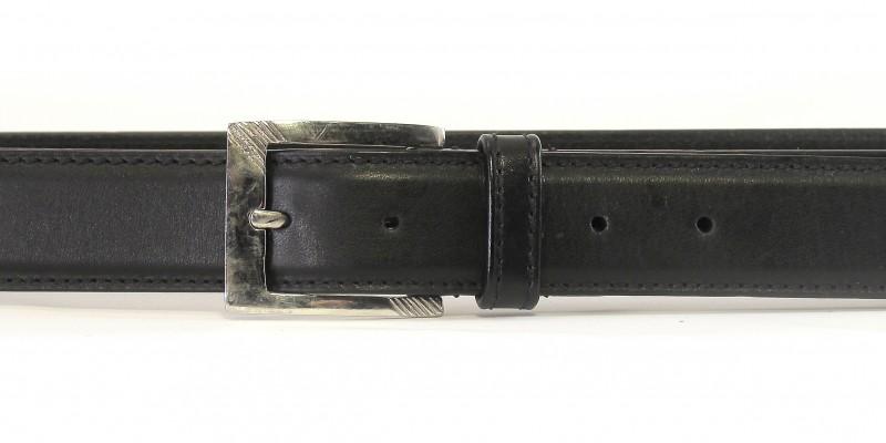 Černý kožený pásek HIDESIGN s lesklou otevřenou sponou AL250902