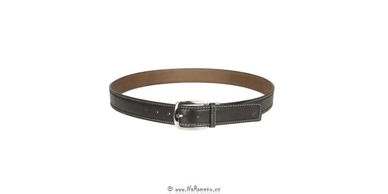 Kalhotový oboustranný pásek HIDESIGN s kontrastním prošitím po stranách Barry černý/světle hnědý