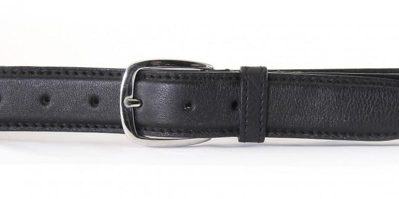 Poloformální opasek HIDESIGN s otevřenou kovovou sponou stříbrné barvy KMSF-02 černý