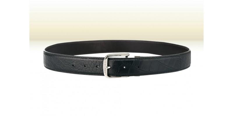 Černý pásek HIDESIGN s ražbou krokodýlí kůže MIKE