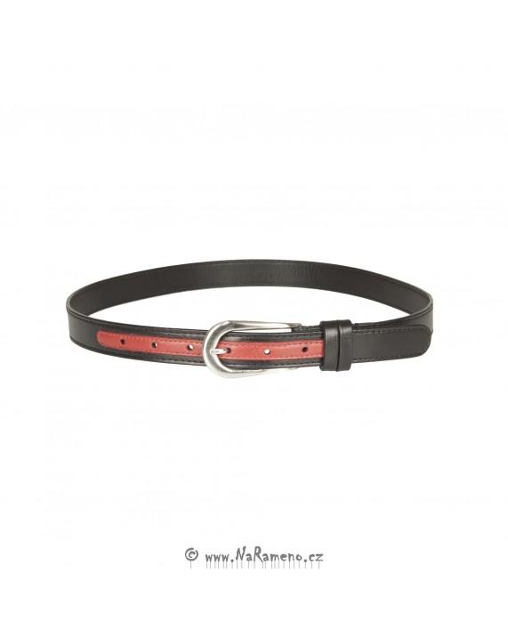 Tenký dámský opasek HIDESIGN SS10W06 černý/červený