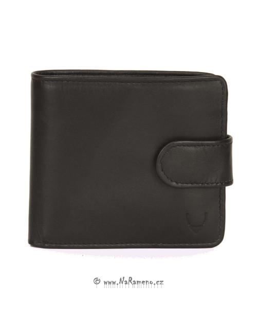 Černá kožená peněženka HIDESIGN se zápinkou pro může 010