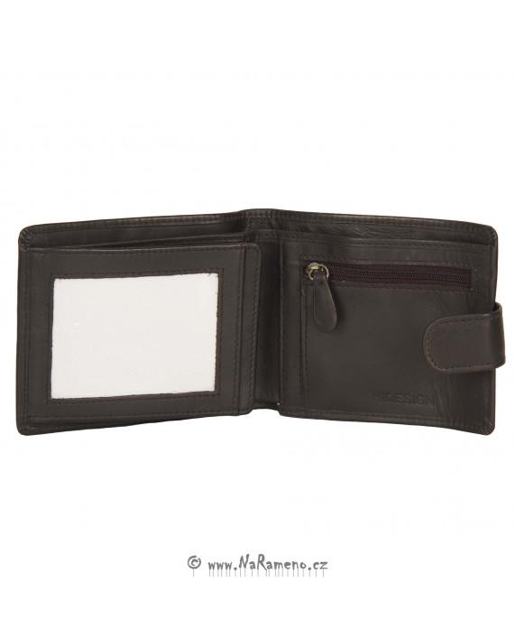 Pánská hnědá peněženka HIDESIGN se zapínáním na knoflík 038