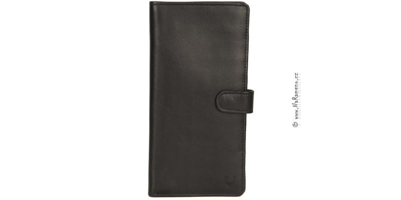 Dlouhá cestovní peněženka HIDESIGN z černé telecí kůže 087