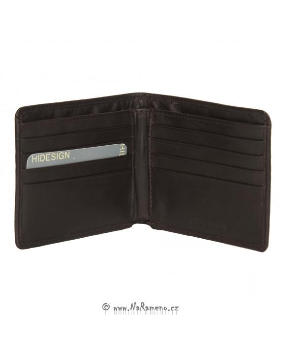 Tmavě hnědá tenká peněženka HIDESIGN bez kapsy na drobné s potiskem 20517