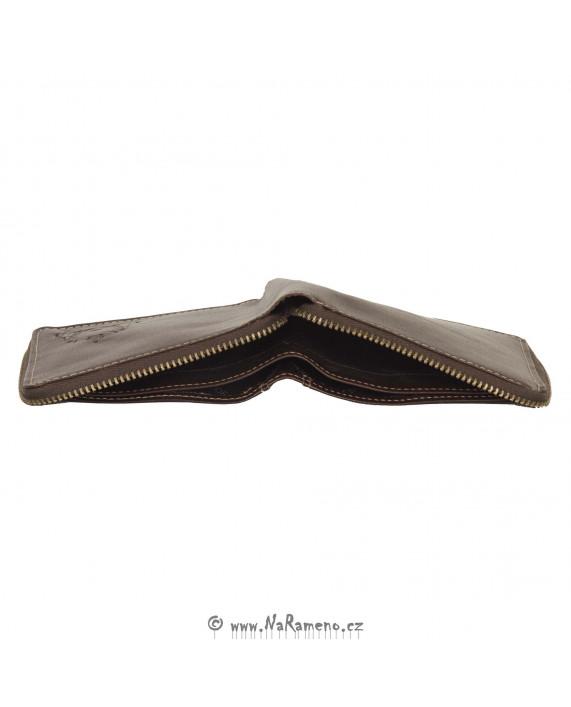 Hnědá peněženka HIDESIGN na zip bez kapsy na mince 229-017A