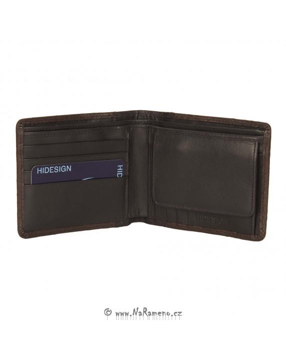 Hnědá pánská peněženka HIDESIGN standardní velikosti s hadím vzorem 261-107F