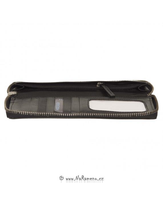 Černá dámská peněženka HIDESIGN na obvodový zip s krokodýlím vzorem 525