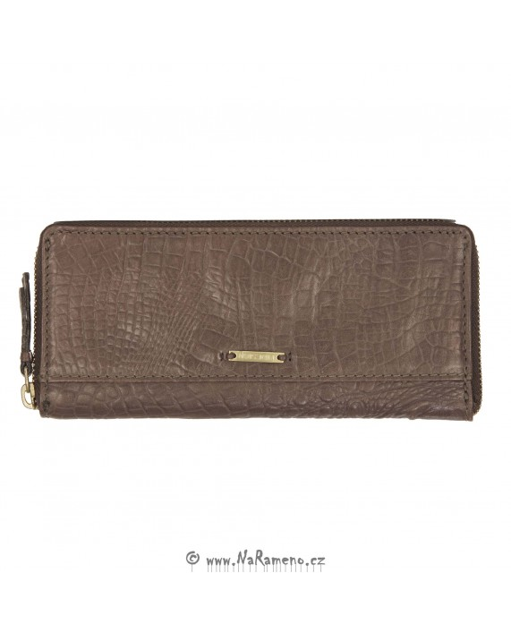 Tenká dlouhá dámská peněženka HIDESIGN na zip s embosovaným potiskem 525 hnědá