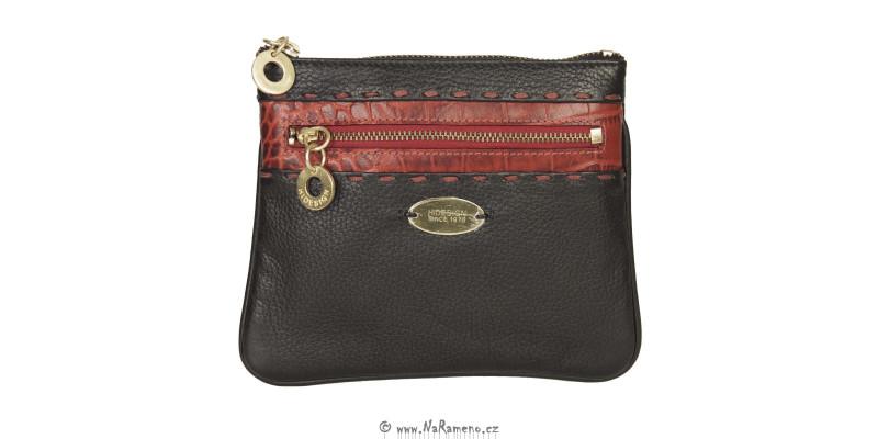 Malá dámská kabelka HIDESIGN přes rameno na zip Acropolis W2 (543) černo-červená