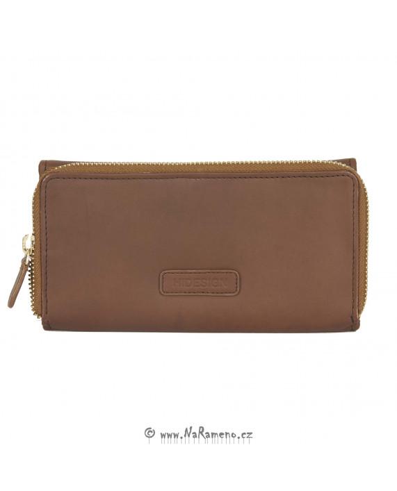 Světle hnědá dlouhá dámská peněženka HIDESIGN s mincovníkem na zip Astra W2