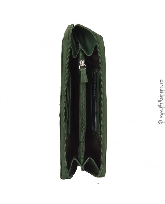Dámská kožená peněženka HIDESIGN na obvodový zip Broadway W4 zelená