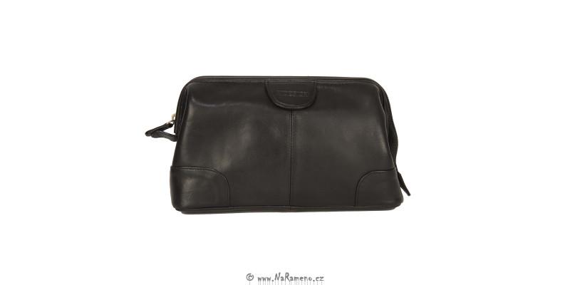 Černá dámská taška HIDESIGN na kosmetiku z pravé kůže Capri
