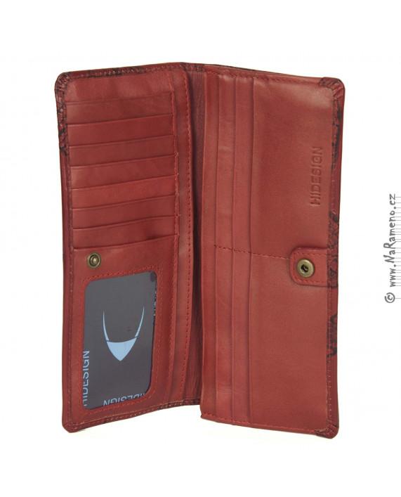 Červená dámská peněženka HIDESIGN zdobená listovým embosováním 3D EM-01