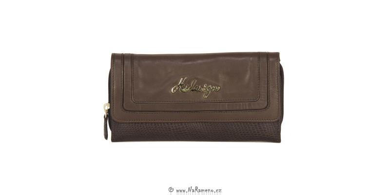 Dámská dlouhá peněženka HIDESIGN na hodně karet s ještěrkovým vzorem Hanbury W2 hnědá