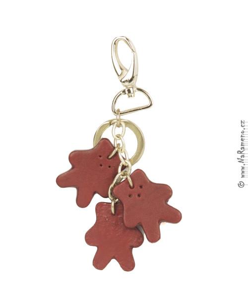 Přívěsek medvídky na klíče HIDESIGN z pravé kůže KC-Teddy červený