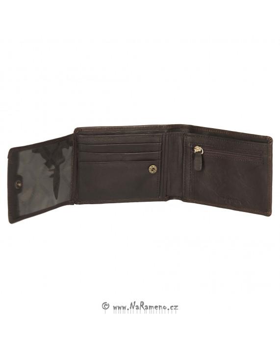 Pánská peněženka HIDESIGN se zipem na drobné L-104 hnědá