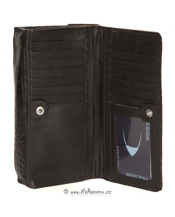 Malá hnědá dámská etue peněženka HIDESIGN s ražbou krokodýlí kůže Nebula W1