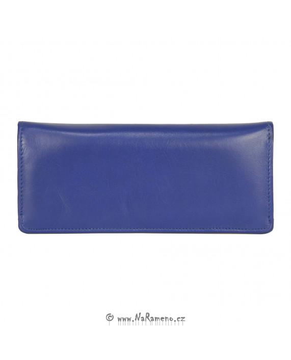 Dlouhá dámská modrá peněženka HIDESIGN na karty a peníze P-102