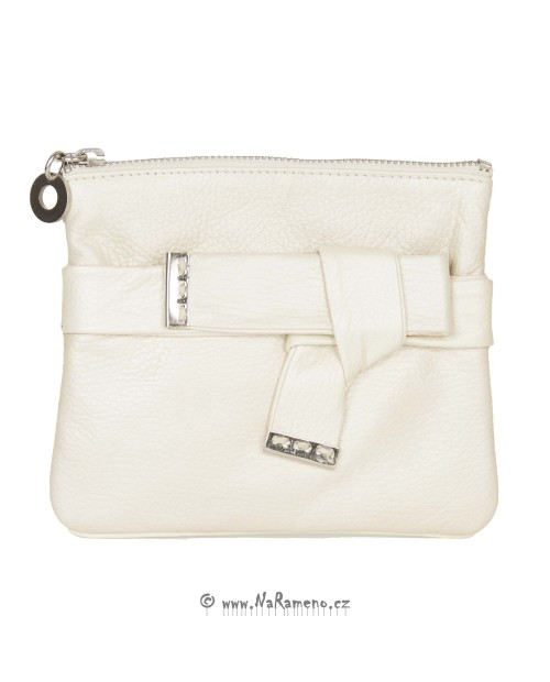 Letní malá dámská kabelka HIDESIGN z pravé kůže Pompidou W1 stříbrná
