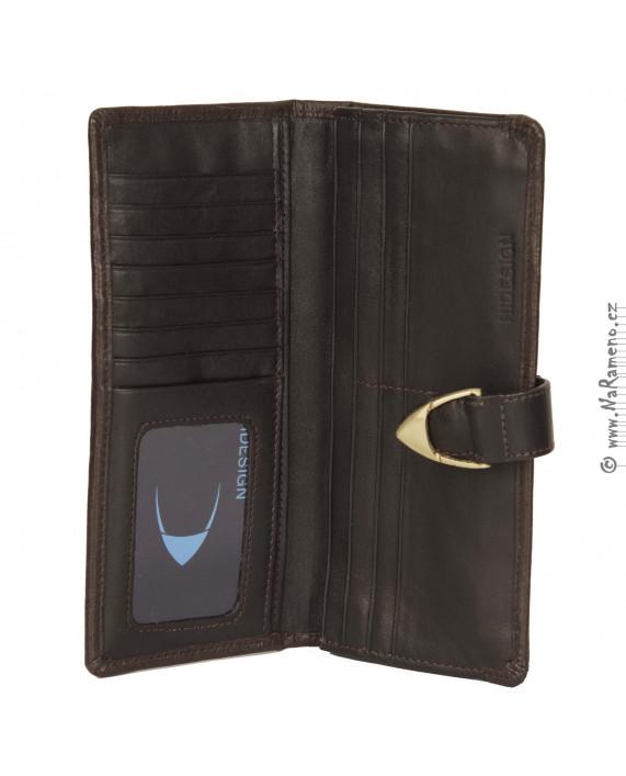 Dámská dlouhá peněženka HIDESIGN zdobená motivem sloní kůží Yangtze W1 hnědá