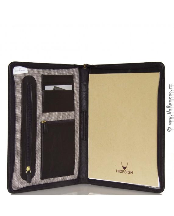 Elegantní taška HIDESIGN do podpaží z pravé kůže na spisy a tablet C-01 hnědá