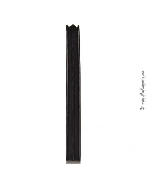 Rozkládací kožená spisovka HIDESIGN na obvodový YKK zip CFF-005 černá